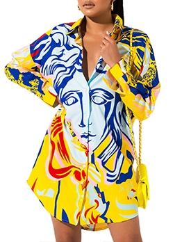 Appealing Look Printed Long Sleeve Dress