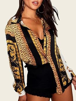 Long Sleeve Leopard Print Women Blouse