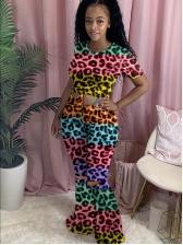 Colorblock Leopard Print Flare Pants Set For Women