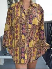 Vintage Print Single-Breasted Long Sleeve Shirt