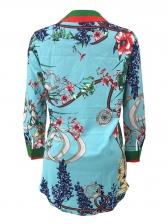 Sexy Single-Breasted Long Sleeve Print Shirt