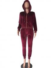 Plain Hooded Velvet 2 Piece Pants Set
