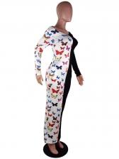 Off Shoulder Butterfly Contrast Color Maxi Dresses