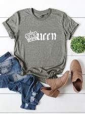 Crown Pattern Comfortable Cotton T Shirt