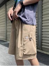 Plain Loose Pockets Short Cargo Pants