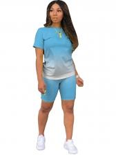 Casual Gradient Color Short Sleeve 2 Piece Sets