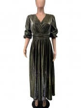 Solid V Neck Long Sleeve Split Maxi Dress