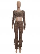 Fashion Leopard Layered Flare Pants Two Piece Set