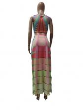 Colored Printed Tank And High Waist Split Skirt