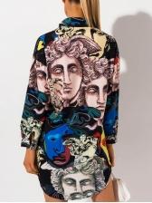 Fashion Portrait Printed Women T-Shirt Dress