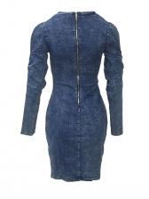 V Neck Long Sleeve Denim Dress