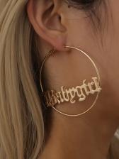 Simple Letter Circle Street Fashion Earrings