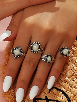 Vintage Simple Geometric Rings Combination Set