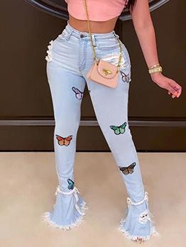 Trendy Butterfly Skinny Bootcut Jeans
