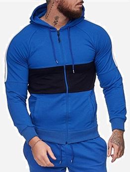 Contrast Color Long Sleeve Zip Up Hoodies