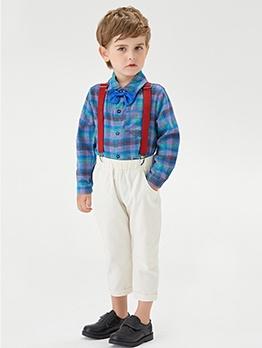 Stylish Cotton Contrast Color Boys 2 Piece Outfits