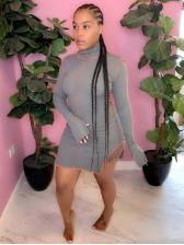 High Neck Split Hem Long Sleeve Short Dress