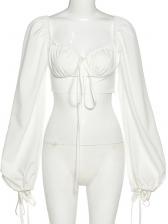 Fashion V Neck Cropped Puff Sleeve Blouse