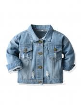 Stylish Denim Button Down Kids Outerwear