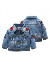 Fashion Rose Embroidery Denim Kids Jacket