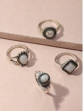 Vintage Simple Geometric Rings Combination Set