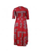 Pop Print Irregular Hemline Red Midi Dress
