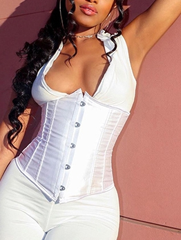 Solid Color Lace Up Underbust Corset