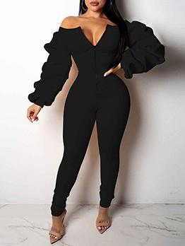 Fashion Solid Off Shoulder Zipper Skinny Jumpsuits