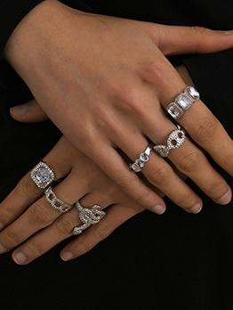Silvery Multielement Acrylic Women Rings Set