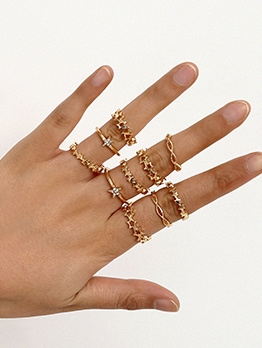 Hollow Out Star Shape Rhinestone Women Rings Set