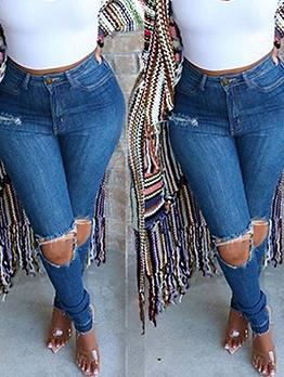 Euro Style Skinny Mid Waist Distressed Jeans
