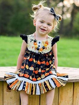 Halloween Pumpkin Pattern Sleeveless Girl Princess Dress