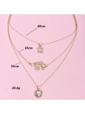 Sweet Cherry Heart Rhinestone Pendant Necklace