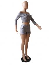 Fashion Off Shoulder Tassel Two Piece Short Set