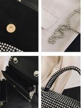 Trapezoidal Rhinestone Beads Strap Shoulder Bags