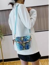 Beaded Handle Flower Snake Print Shoulder Bags