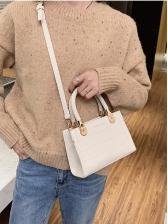 Stone Grain Removable Belt Shoulder Bag With Handle