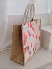 Geometric Print Large Capacity Canvas Tote Bags
