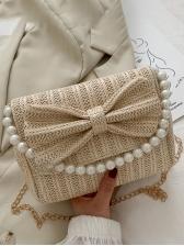 Faux Pearl Handle Bowknot Chain Crossbody Bag