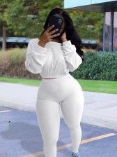 Leisure Pure Color Long Sleeve Two Piece Pants Set