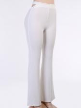 Elegant Solid Color Women Flare Pants
