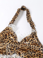 Lacework Leopard Cropped Halter Backless Cami Top