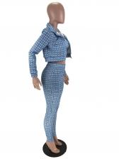 Fashion Plaid Print Skinny Pants Three Piece Set