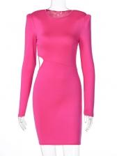 Autumn Solid Cut Waist Long Sleeve Bodycon Dress