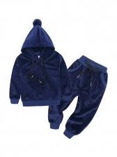 Children Spring Velvet Hooded Top And Solid Pants
