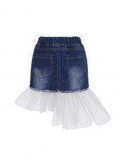 Off Shoulder Blouse And Patchwork Gauze Denim Skirt