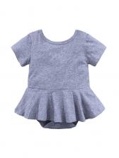 Solid Petal Edge Short Sleeve Baby Girl Rompers