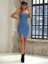 Sexy Strapless Denim Short Dress For Women