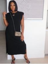 Solid Vent Casual Sleeveless Women Maxi Dress