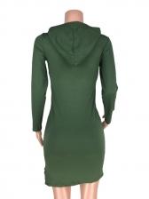Lips Print Hooded Collar Long Sleeve Dress